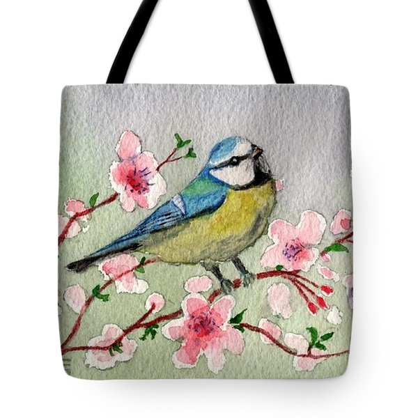 Blue Tit Bird On Cherry Blossom Tree Tote Bag