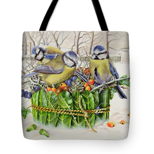 Blue Tits In Leaf Nest Tote Bag by EB Watts