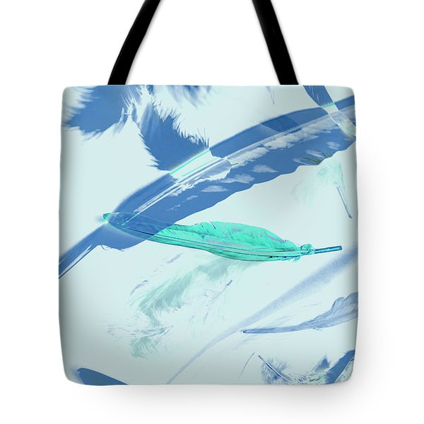 Blue Toned Artistic Feather Abstract Tote Bag
