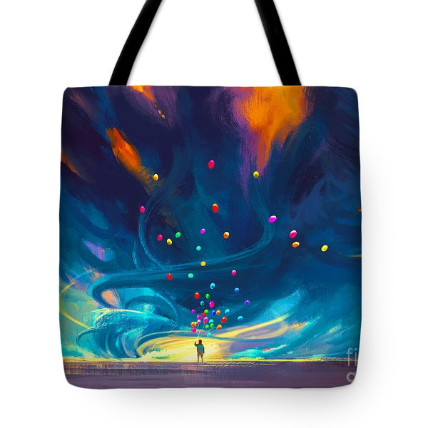Blue Tornado Tote Bag
