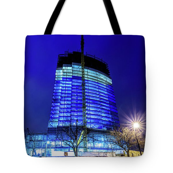 Tote Bag featuring the photograph Blue Tower Rising by Randy Scherkenbach