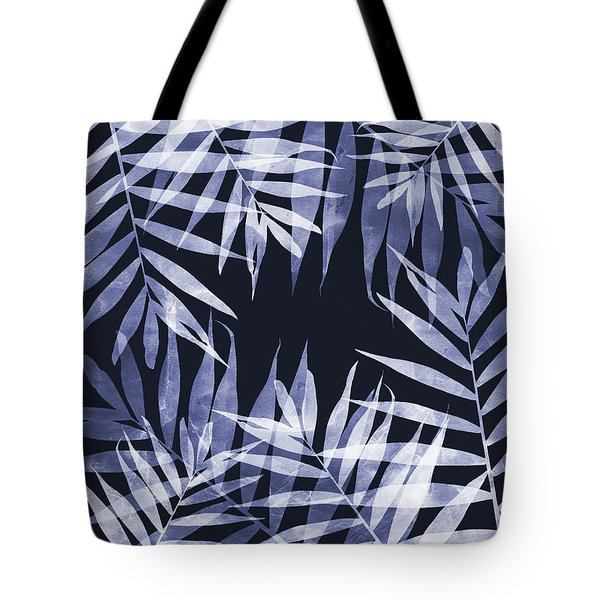 Blue Tropical Leaves Tote Bag