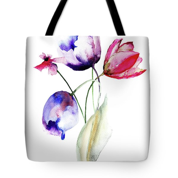 Blue Tulips Flowers With Wild Flowers Tote Bag