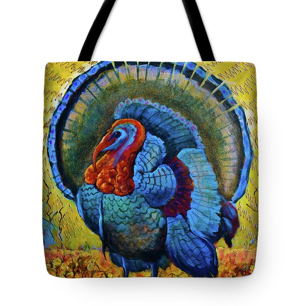 Blue Turkey Tote Bag