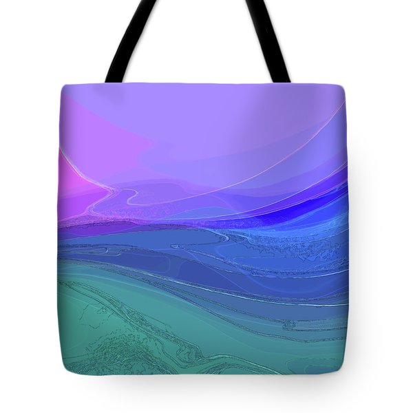 Tote Bag featuring the digital art Blue Valley by Gina Harrison