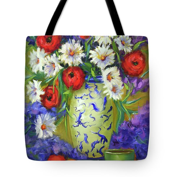 Blue Vase Flowers Tote Bag