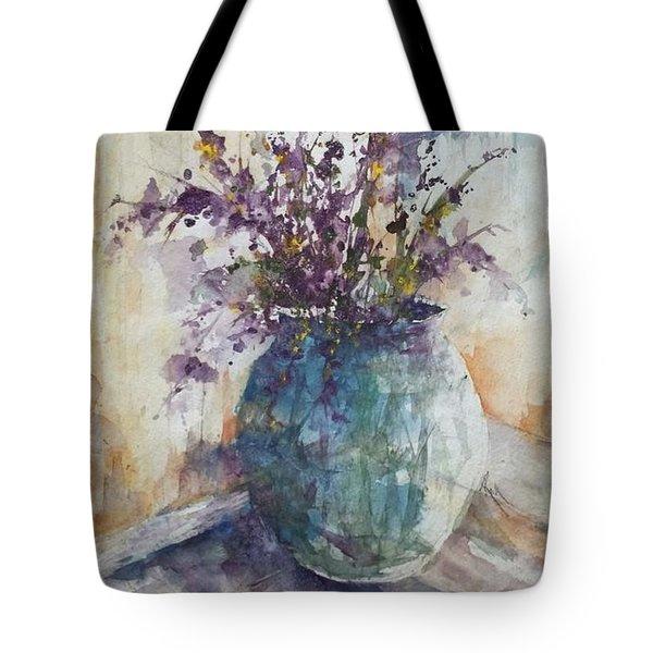 Blue Vase Of Lavender And Wildflowers Aka Vase Bleu Lavande Et Wildflowers  Tote Bag