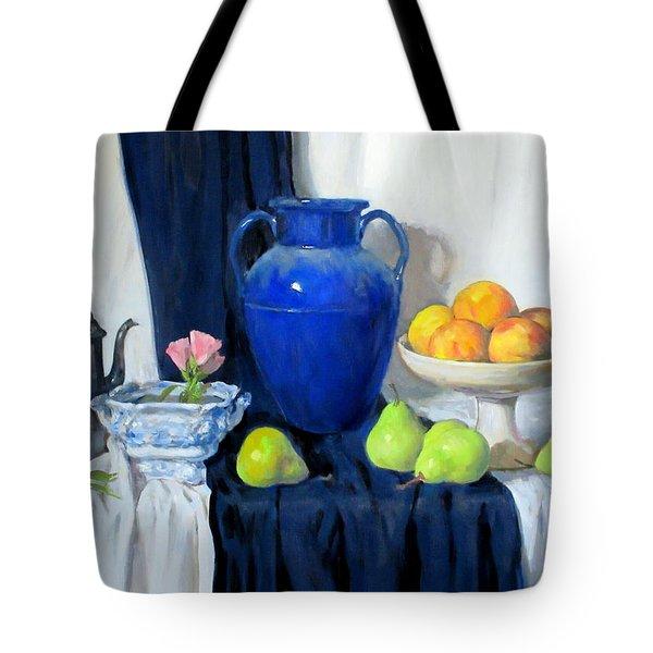 Blue Vase, Peaches, Pears, Lisianthus, Silver Coffeepot Tote Bag