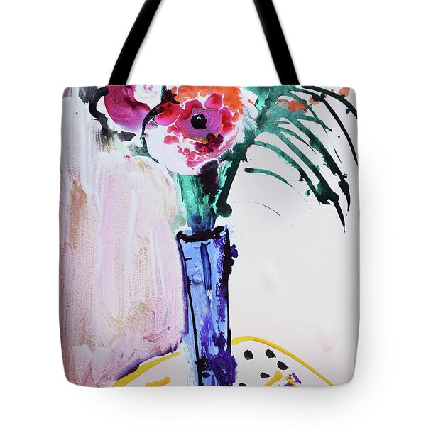 Blue Vase With Red Wild Flowers Tote Bag
