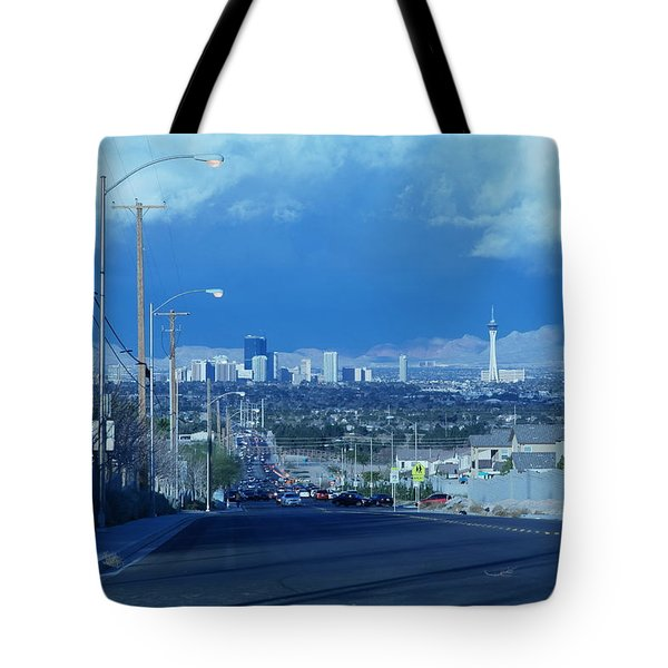 Blue Vegas Tote Bag