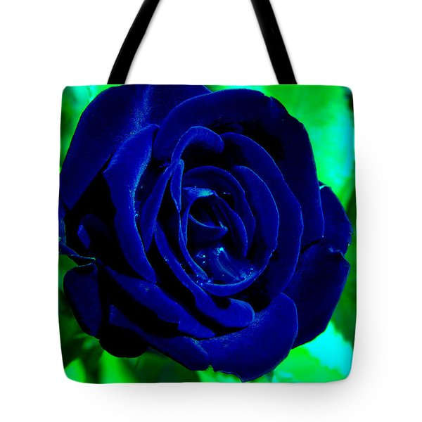 Blue Velvet Rose Tote Bag