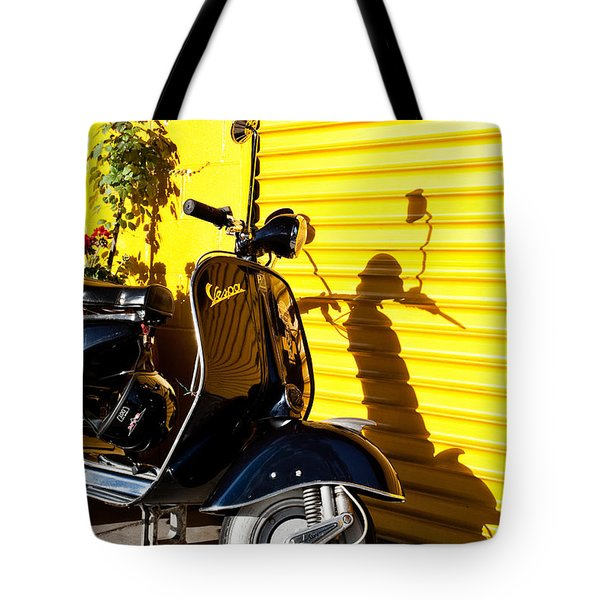 Tote Bag featuring the photograph Blue Vespa by Sonny Marcyan