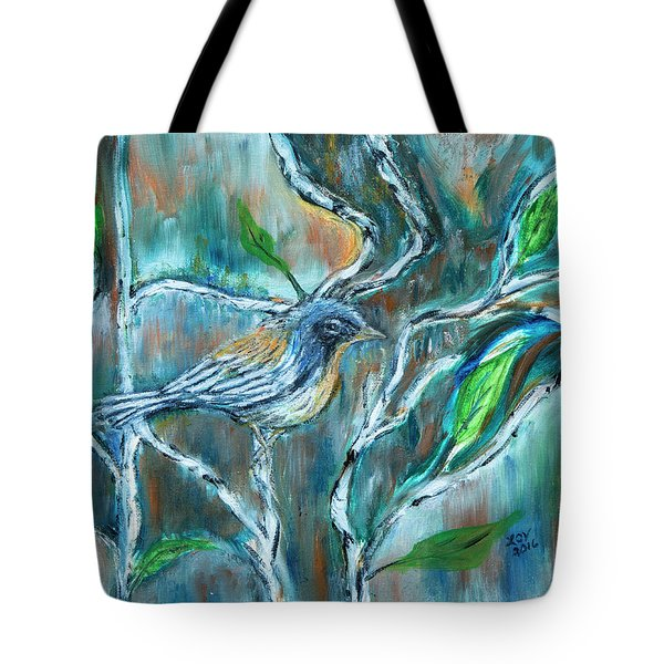 Blue Warbler In Birch Tote Bag