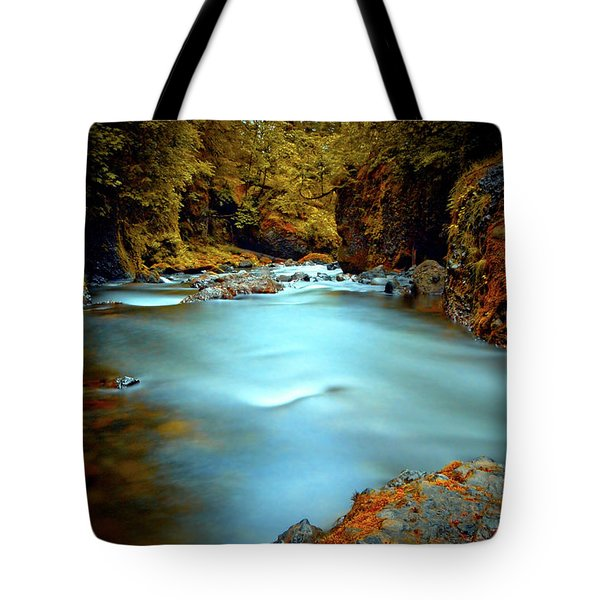 Blue Water And Rusty Rocks Tote Bag
