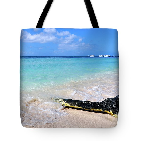 Blue Water And White Sand Tote Bag