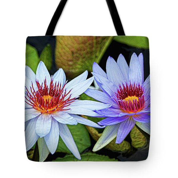 Tote Bag featuring the photograph Blue Water Lilies by Judy Vincent