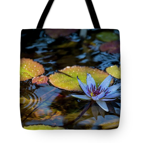 Blue Water Lily Pond Tote Bag