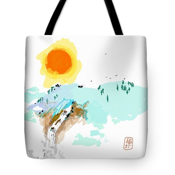 Blue Waterfalll Tote Bag