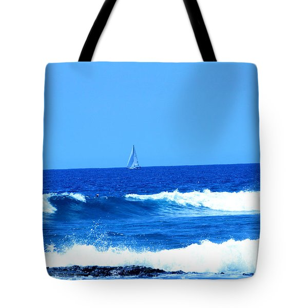 Tote Bag featuring the photograph Blue Waters And Sailboat by Karen Nicholson