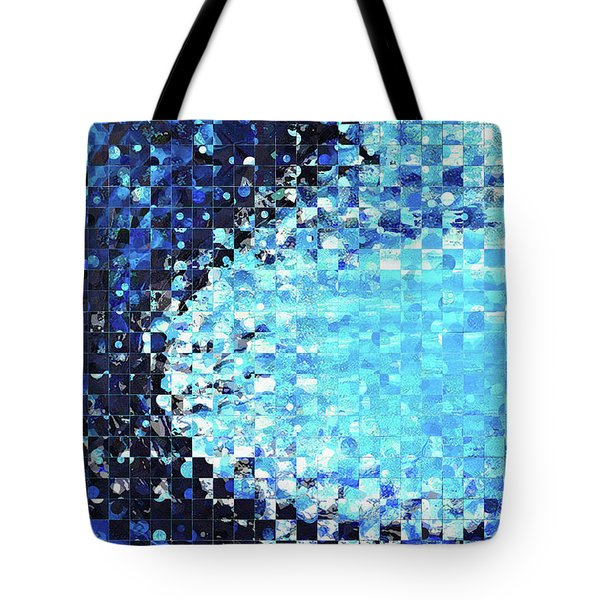 Tote Bag featuring the painting Blue Wave Art - Pieces 7 - Sharon Cummings by Sharon Cummings