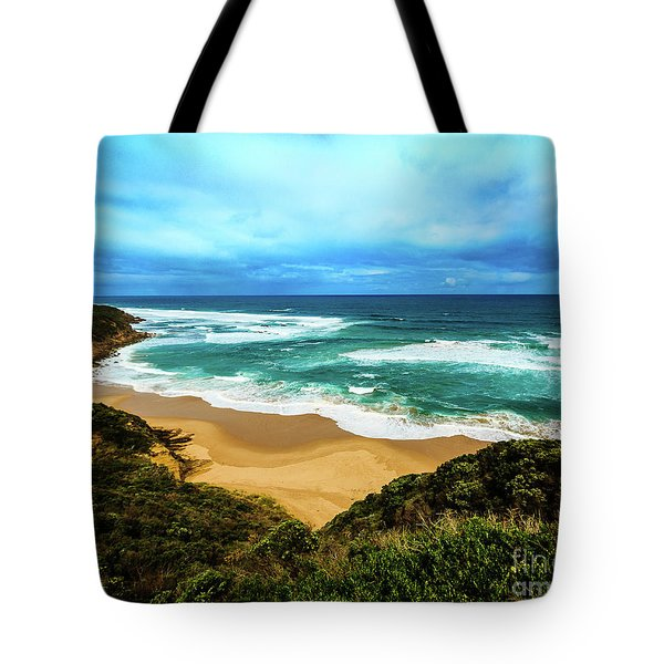 Tote Bag featuring the photograph Blue Wave Beach by Perry Webster