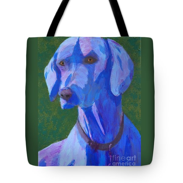 Tote Bag featuring the painting Blue Weimaraner by Donald J Ryker III