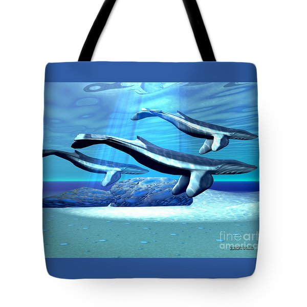 Blue Whale Sanctuary Tote Bag by Corey Ford