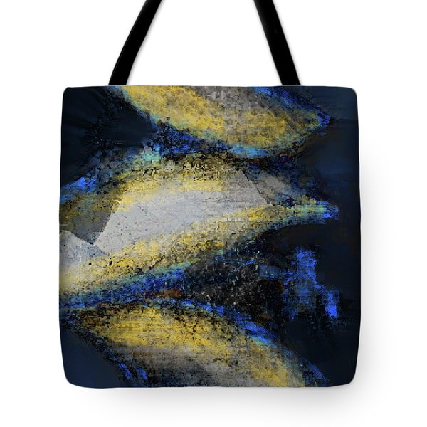 Tote Bag featuring the mixed media Blue Whales by Eduardo Tavares