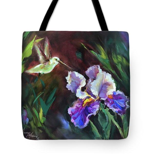 Blue Whispers Hummingbird Tote Bag