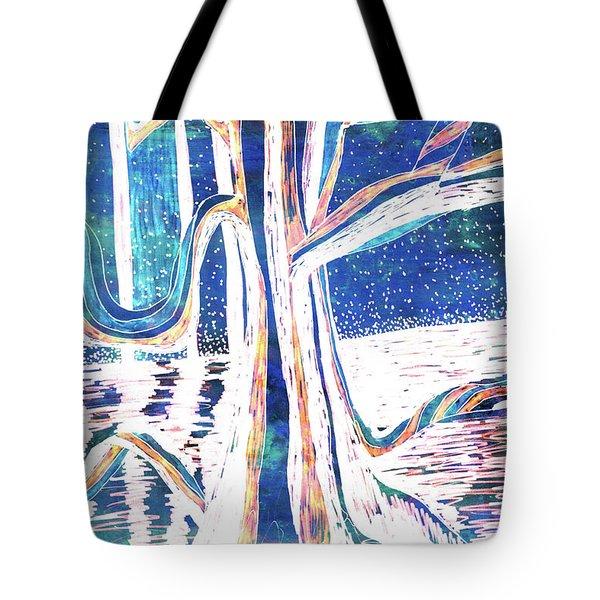 Blue-white Full Moon River Tree Tote Bag