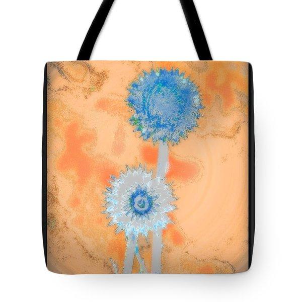 Blue White Thistles Tote Bag
