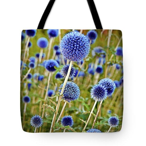 Blue Wild Thistle Tote Bag