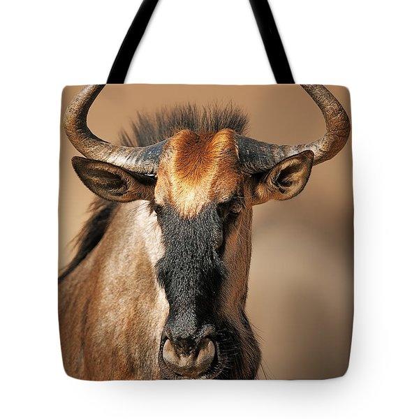 Blue Wildebeest Portrait Tote Bag