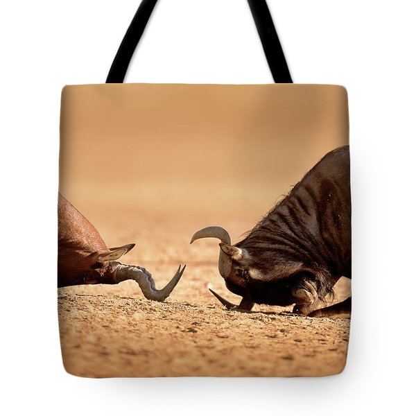 Blue Wildebeest Sparring With Red Hartebeest Tote Bag