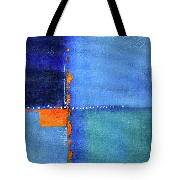 Tote Bag featuring the painting Blue Window Abstract by Nancy Merkle