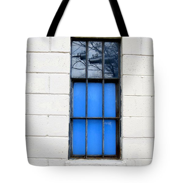Blue Window Panes Tote Bag by Sandra Church