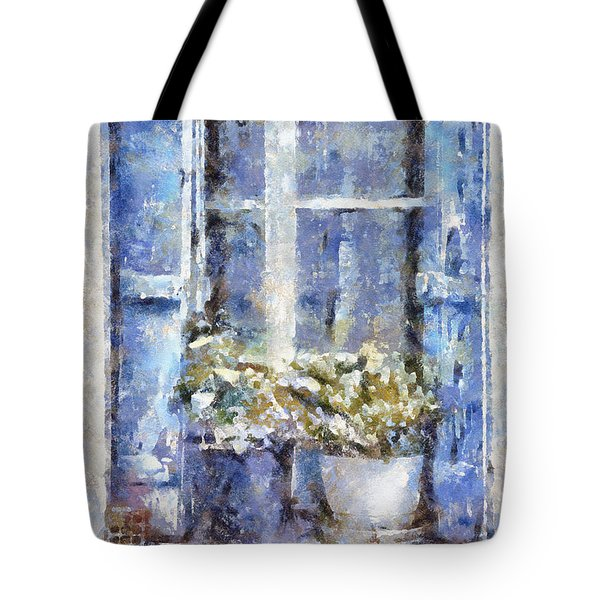 Blue Window Tote Bag by Shirley Stalter