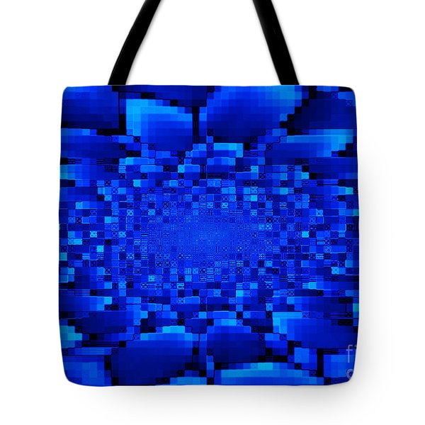 Blue Windows Abstract Tote Bag by Carol Groenen