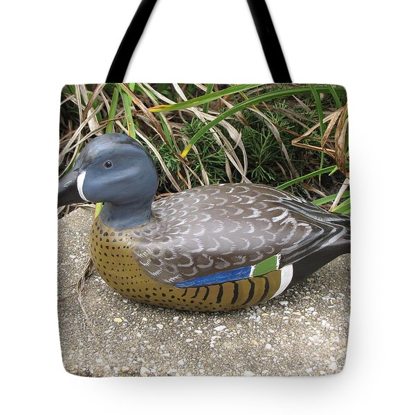 Tote Bag featuring the sculpture Blue-winged Duck by Kevin F Heuman
