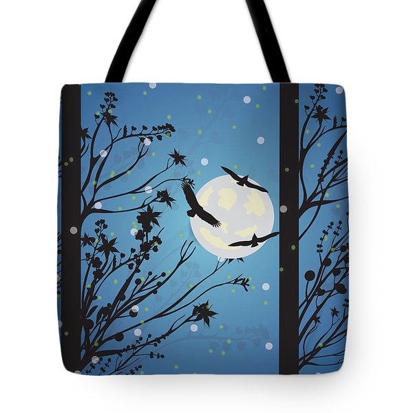 Tote Bag featuring the digital art Blue Winter Moon by Kim Prowse