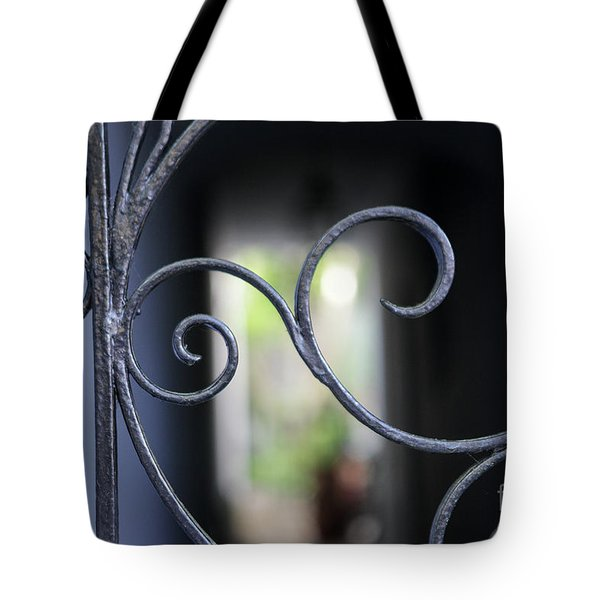 Tote Bag featuring the photograph Blue Wrought Iron Scroll by Heather Green