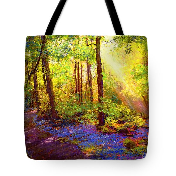 Tote Bag featuring the painting Bluebell Blessing by Jane Small