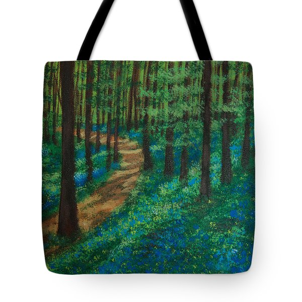 Tote Bag featuring the painting Bluebell Forest by Elizabeth Mundaden