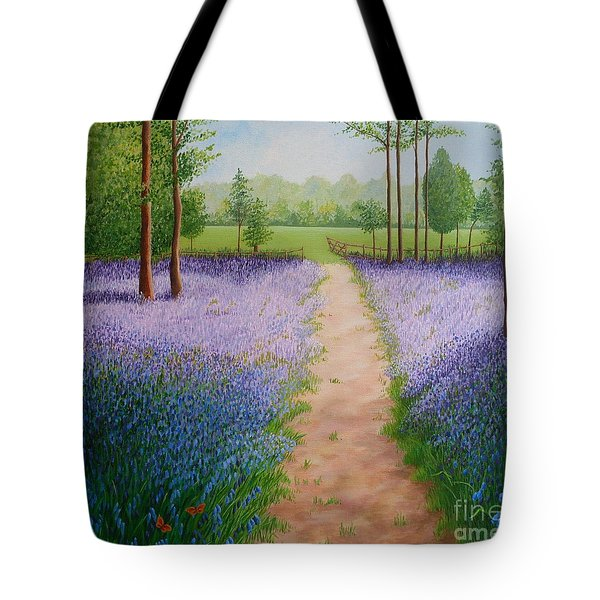 Bluebells With Butterflies Tote Bag