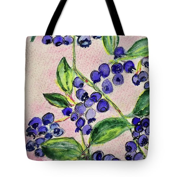 Tote Bag featuring the painting Blueberries by Kim Nelson