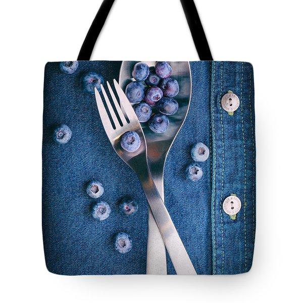 Blueberries On Denim II Tote Bag
