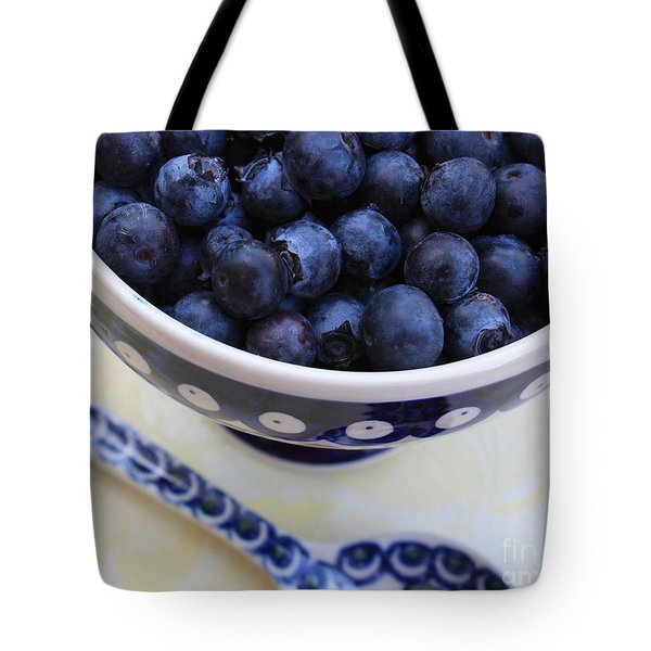 Blueberries With Spoon Tote Bag by Carol Groenen
