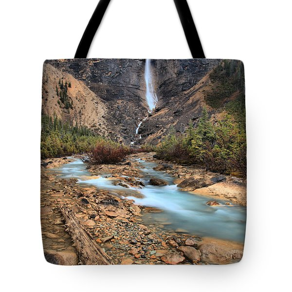 Tote Bag featuring the photograph Blueberry Blue Waters Under Takakkaw Falls by Adam Jewell