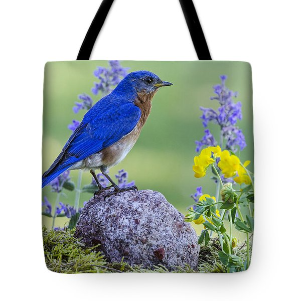 Bluebird Amongst The Flowers Tote Bag