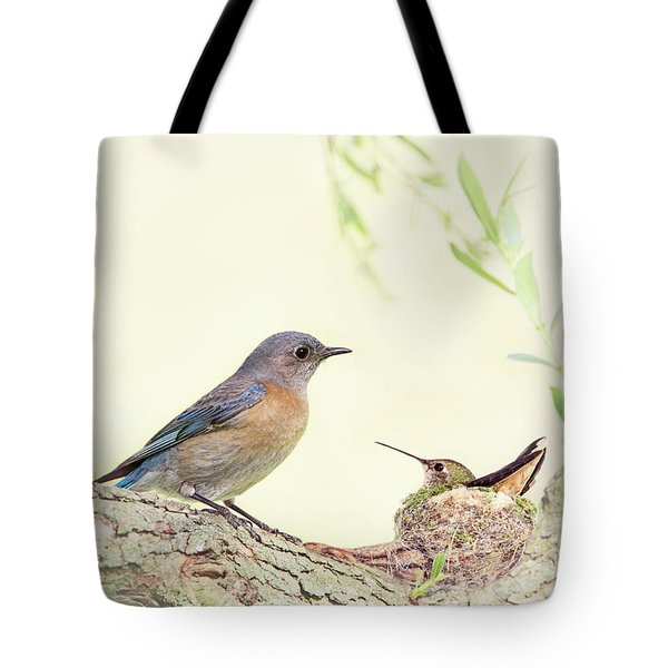 Bluebird And Baby Hummer Tote Bag